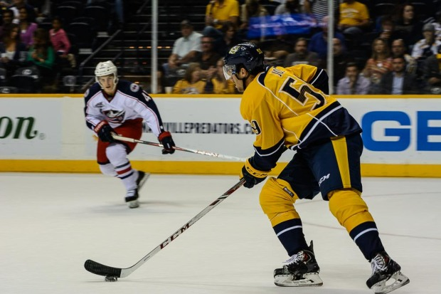 Roman Josi carries the puck up ice. (Jim Diamond/Rinkside Report)