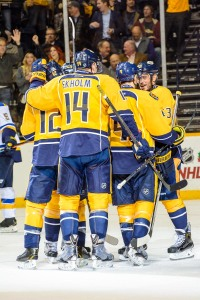 The Predators celebrate Eric Nystrom's goal. (Jim Diamond/Rinkside Report)