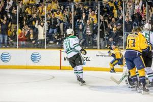 Miikka Salomaki's celebrates his first NHL goal. (Jim Diamond/Rinkside Report)