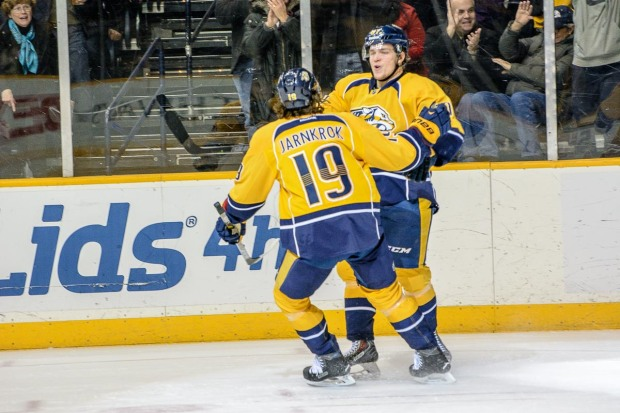 Miikka Salomaki celebrates his first goal with Calle Jarnkrok. (Jim Diamond/Rinkside Report)