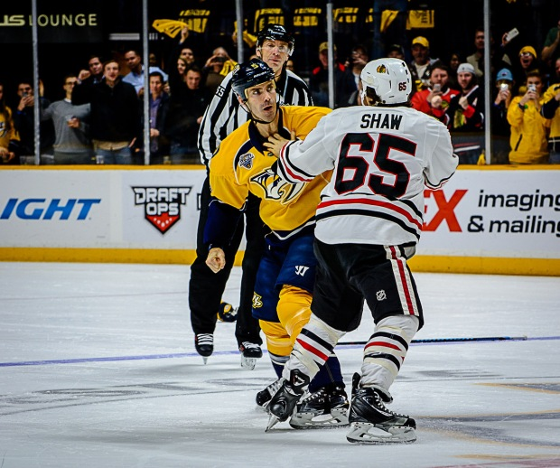 Barret Jackman fights Chicago's Andrew Shaw (Jim Diamond/Rinkside Report)
