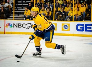 Roman Josi carries the puck up ice with an adorable observer over the Pedigree board advertisement. (Jim Diamond/Rinkside Report)
