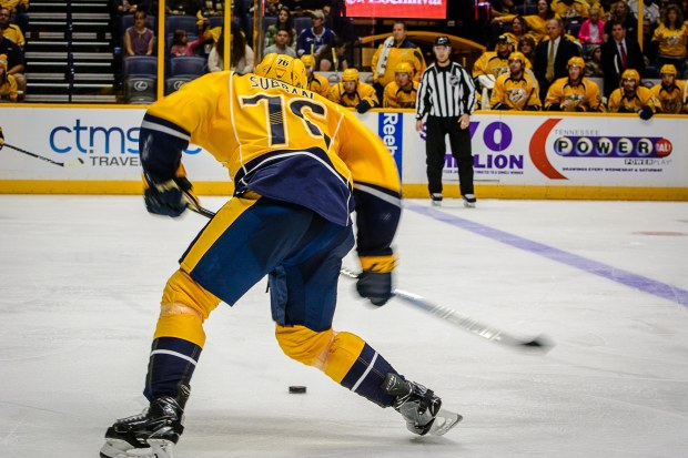 P.K. Subban waits to unload a one-timer Rinkside Report/Jim Diamond